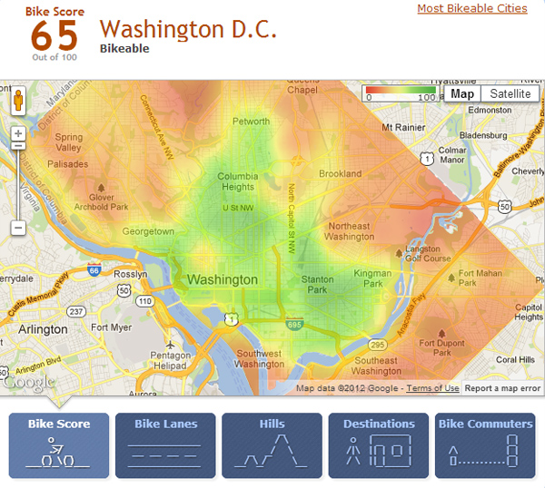 bloomingdale: BikeScore map of DC has Bloomingdale in * green *