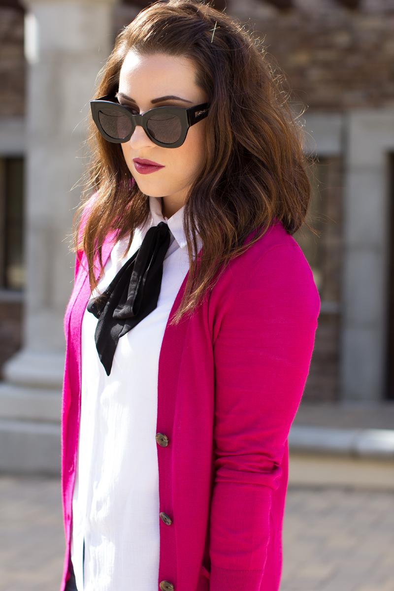 karen walker sunglasses, tie neck shirt, pink cardigan, thanksgiving outfit