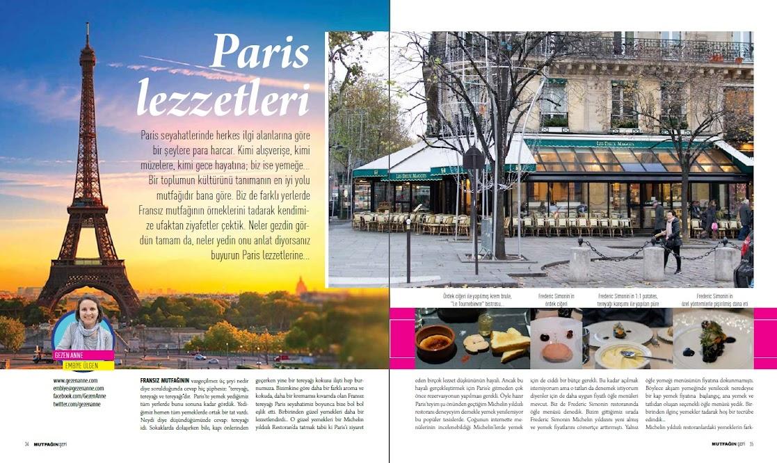 Mutfağın Şefi dergisinde Paris Lezzetleri yazısı