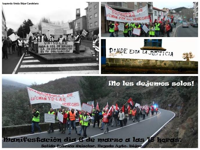 mosaico de imagenes conmanifestacion de trabajadores de UNISOLAR