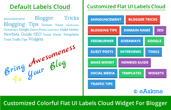 Customized Colorful Flat UI Labels Cloud Widget For Blogger : eAskme