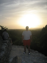 Sunset from the top of a mayan temple