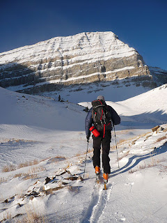 Outdoor Research water bottle holder (red) while I skin towards Powder on Mount Timpanogus