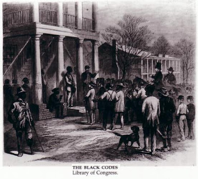 mississippi black codes 1865 The civil rights of freedmen in mississippi section 1 be it enacted by the legislature of the state of mississippi, that all freedmen, free negroes, and mulattoes may sue and be sued, implead and be impleaded in all the courts of law and equity of this state, and may acquire personal property and choses in action, by descent or purchase, any may dispose of the same, in the same manner, and .