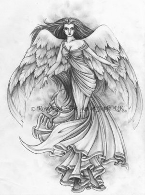 angel tattoo flash art2 by *AllanTorres on deviantART
