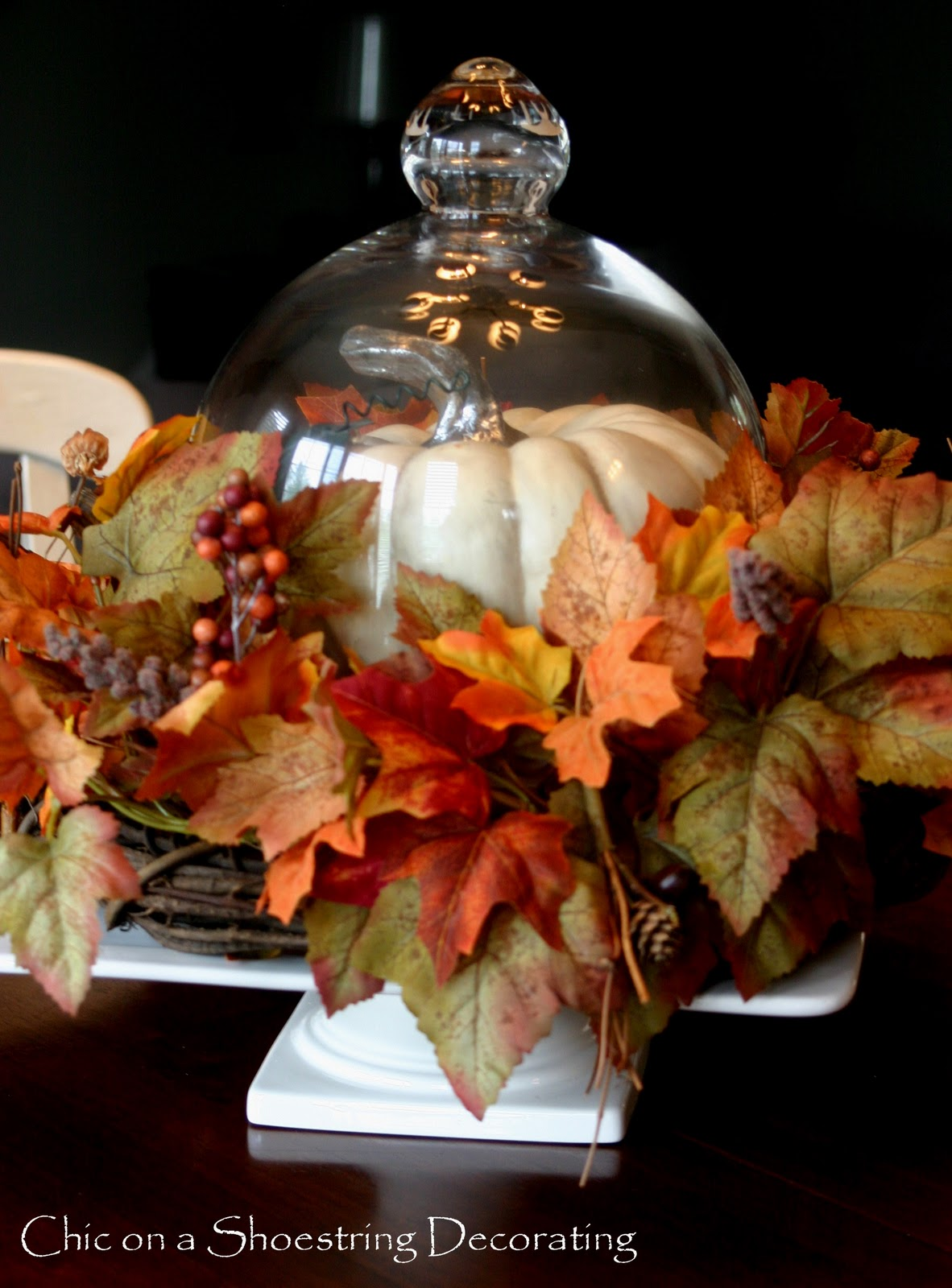 chic on a shoestring decorating fall centerpiece love