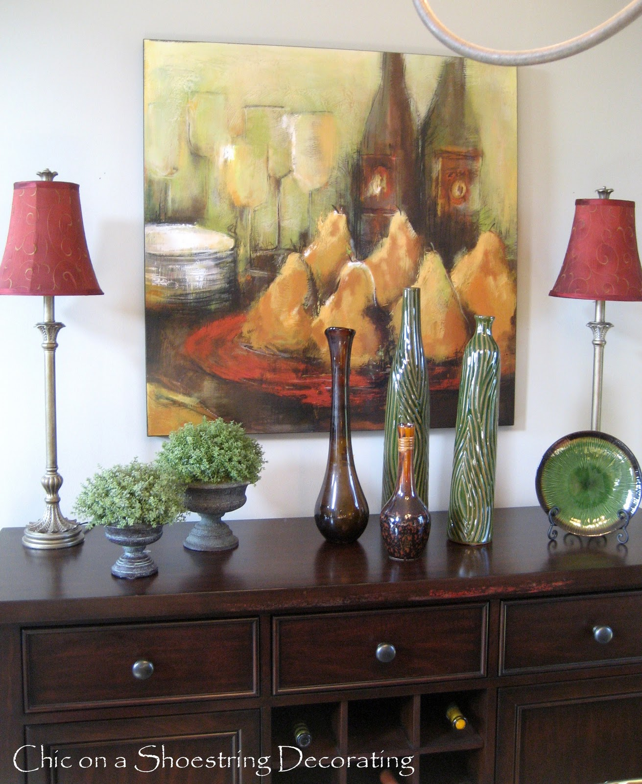 Chic on a shoestring decorating dining room buffet revisited for Decorate my dining room