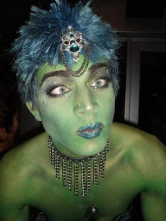 Adam Lambert green incredible cross-eyed hulk costume