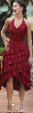 Raylia Bridesmaid Deep Red Dresses