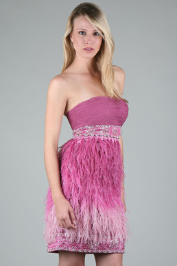 Beaded Feather Party Dress