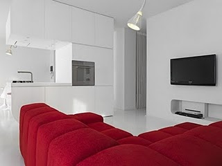 Futuristic Apartment With Red White Interior By Romolo Stanco