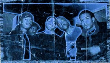 Kanye West, Rhymefest, Mikkey Halsted, GLC & Timmy G in 1999