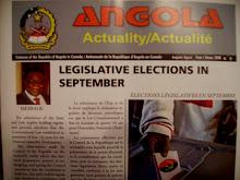 Recebemos um exemplar das eleiçoes legislativas a partir da Embaixada de Angola no Canada