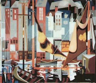 tableau - le port d'honfleur- réalisé en 1982