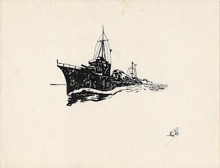 dessin à l'encre représentant un destroyer