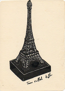 La tour Eiffel dessiné à l'encre