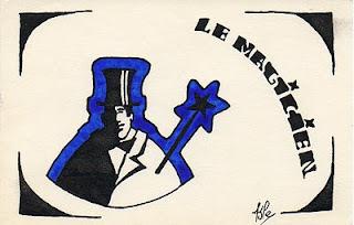 dessin à l'encre représentant un magicien