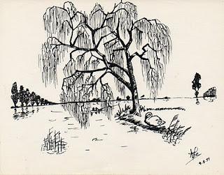 dessin à l'encre représentant un saule pleureur