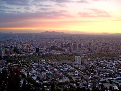 Sunset Over Santiago, Chile, Seen From Cerro San Cristobol
