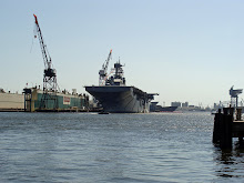 Naval ship in drydock on the Elizabeth River