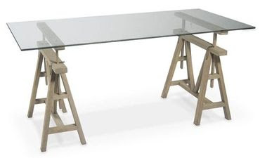 Dining Table Glass Sawhorse Dining Table