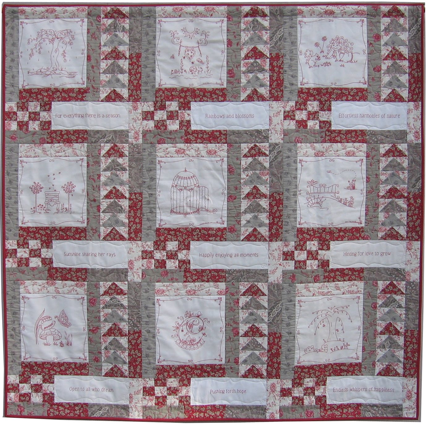 Quilting Redwork Designs :  As Sweet as Cinnamon : Springtime Fresh Hope redwork quilt revealed.