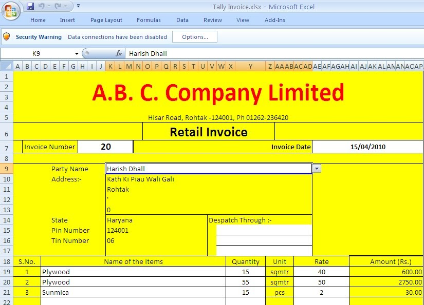 free excel invoice tally based - tds tax india, Invoice examples