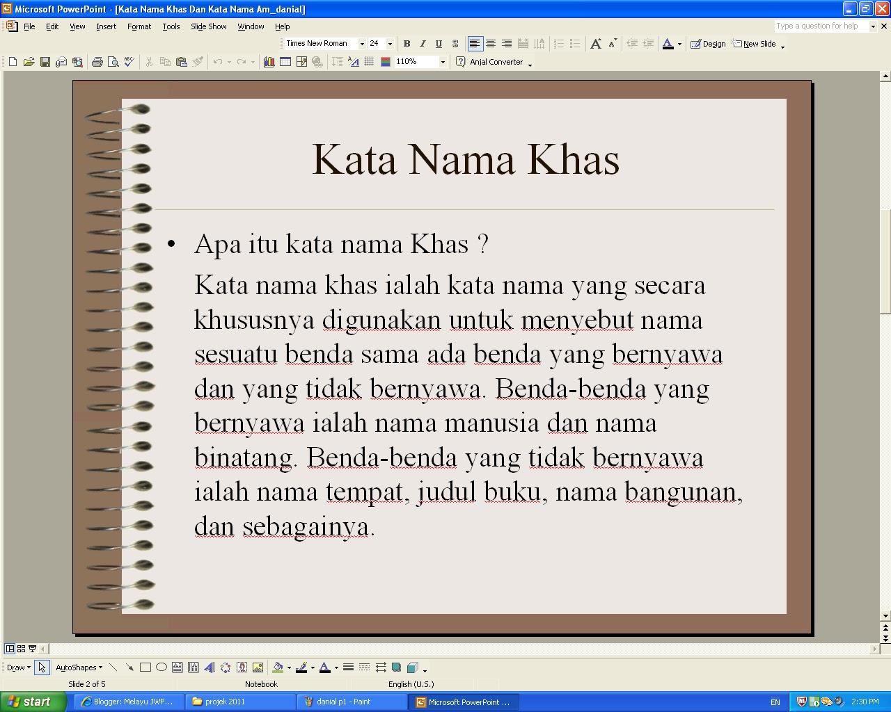 Melayu Jwps Kata Nama Am Dan Kata Nama Khas
