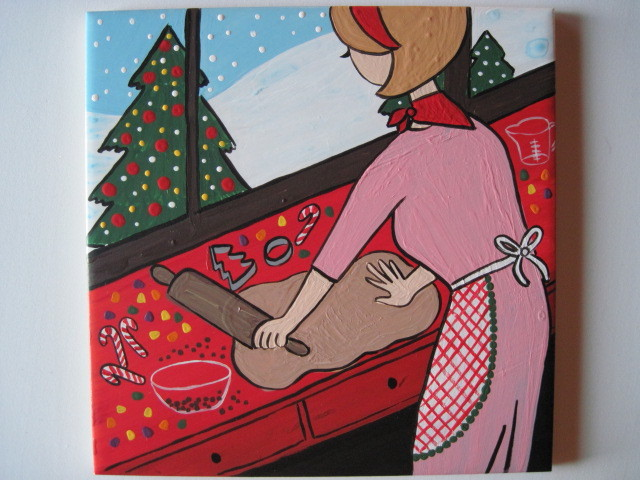 Christmas Baker painted tile