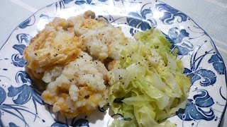 Cottage pie and cabbage