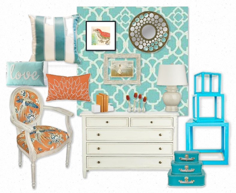 My girlie and me turquoise and coral for Coral and turquoise bedroom ideas