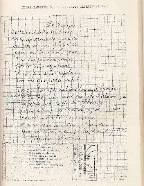 Letra alternativa para El Ciruja - Manuscrito de Alfredo Marino
