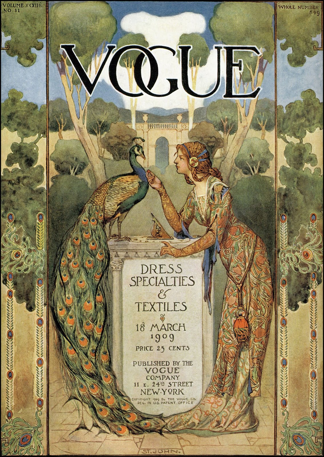 J. Allen St. John, Vogue cover, March 1909 issue, 1909. The Pictorial Arts.