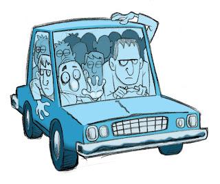 animated crowded car