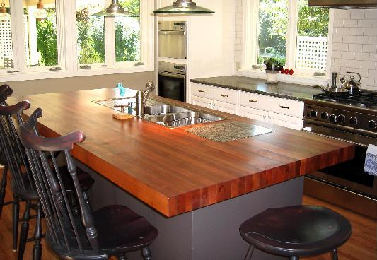 The chairs correspond to the kitchen, made by different color wood