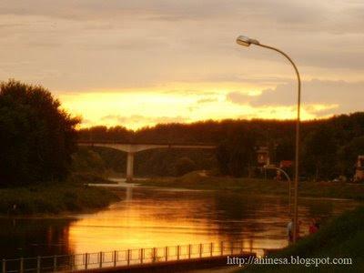 новый мост в Гродно, мост через Неман, Неман, закат