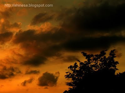 закат, черные облака