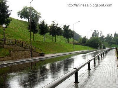 мокрая дорога, природа, после дождя