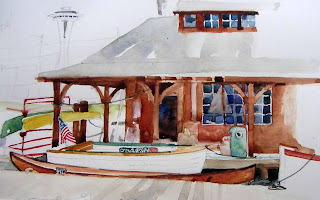 Susan K. Miller sketch of Center for Wooden Boats