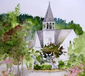 Bainbridge church, watercolor sketch by Susan K. Miller