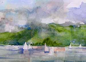 Elliott Bay, September - a watercolor sketch by Susan K. Miller