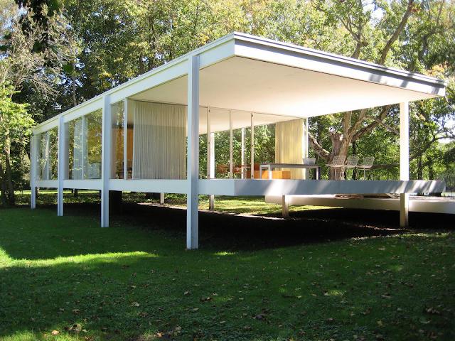 Under the sky ludwig mies van der rohe casa farnsworth for Casa costruita