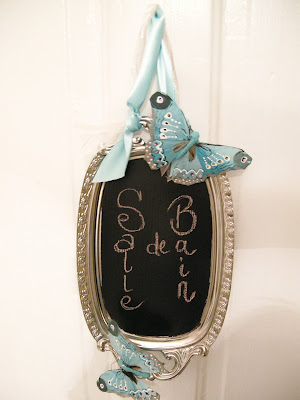 Chalkboard paint, chalkboard sign, DIY Chalkboard, Silver Tray reuse, Silver Tray sign