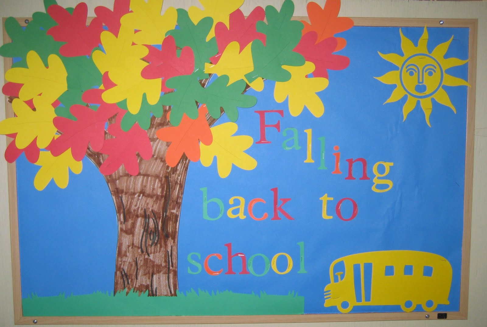 Bulletin board ideas for the month of july - I Did Up A New Bulletin Board For The Start Of Preschool Next Week Falling Back To School I Used My Cricut Expression To Cut Out The Leaves Letters