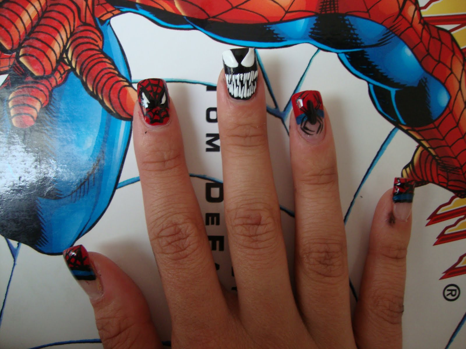 Obsessed spiderman spiderman who love spiderman and venom in the background you can see some sketches of the venom smiley face and the atoms from the science nail designs prinsesfo Choice Image