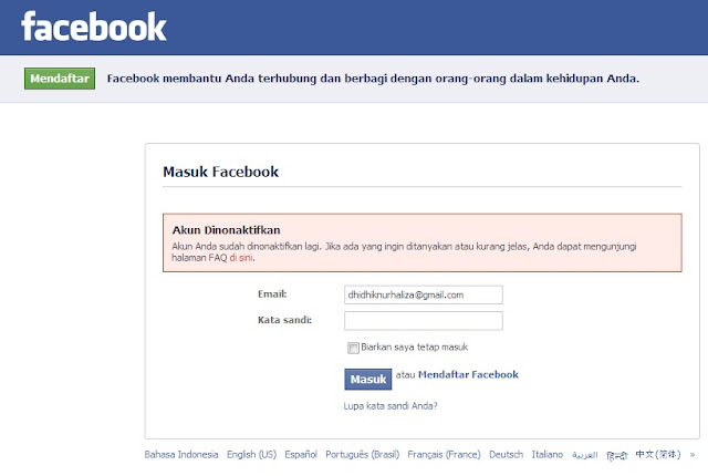 Akun facebook disabled