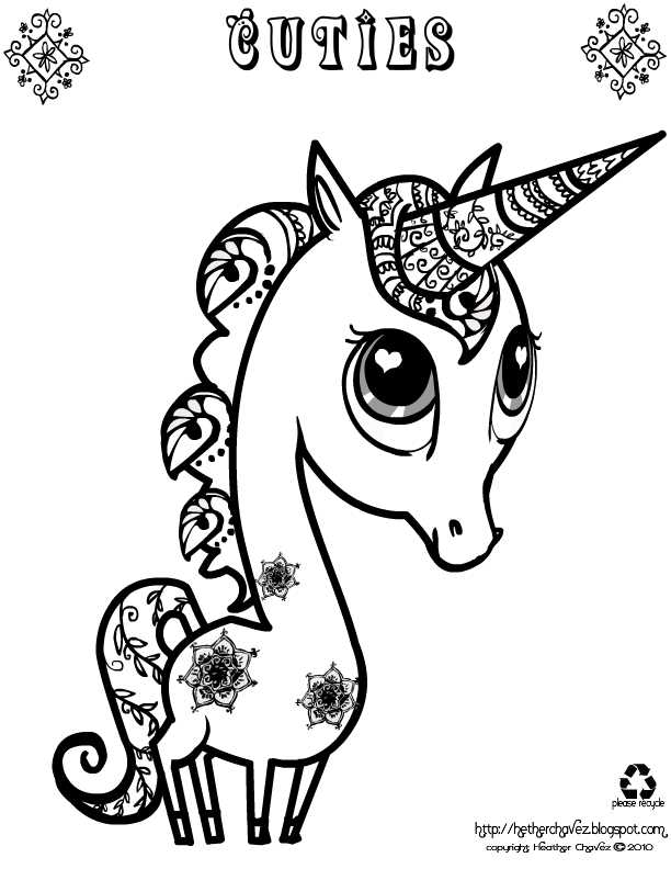 Cuties Unicorn Coloring Pages picture