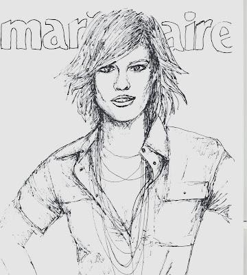 fashion illustration of Hillary Swank by Liz Blair