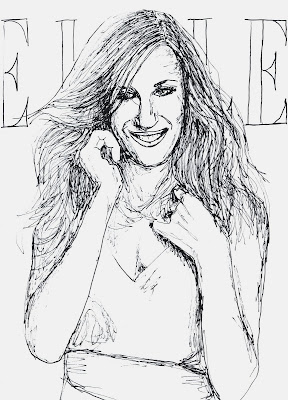 fashion illustration of Sarah Jessica Parker by Liz Blair