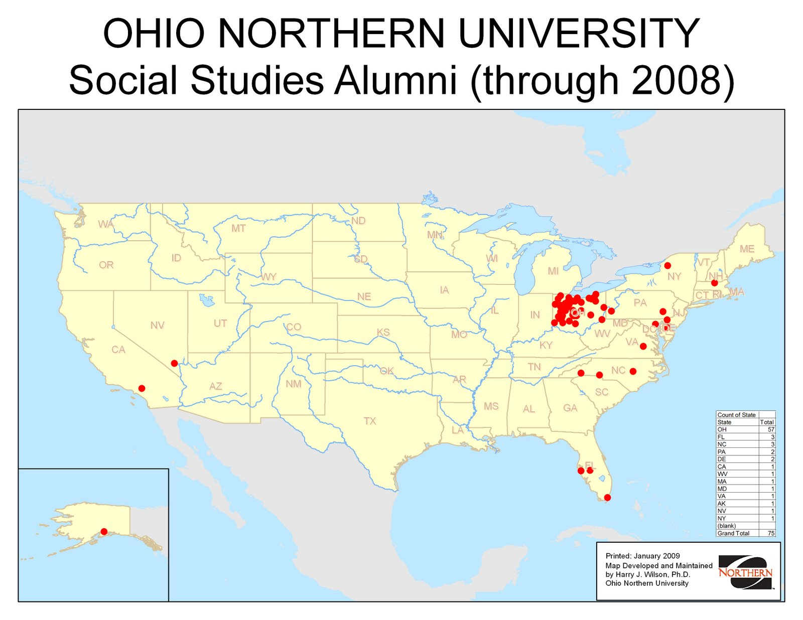 Where are ONU alumni teaching Social Studies?